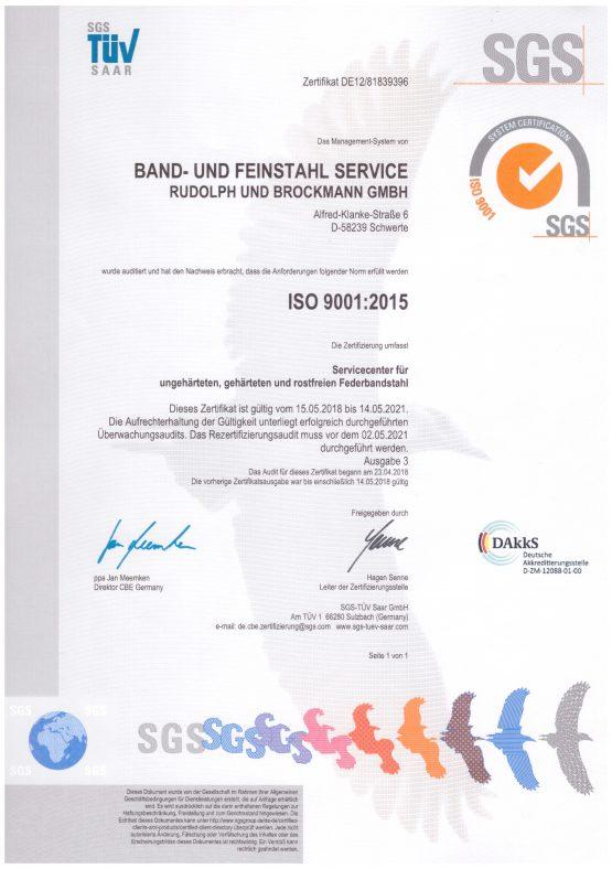 ISO 9001:2015 Zertifikat deutsch