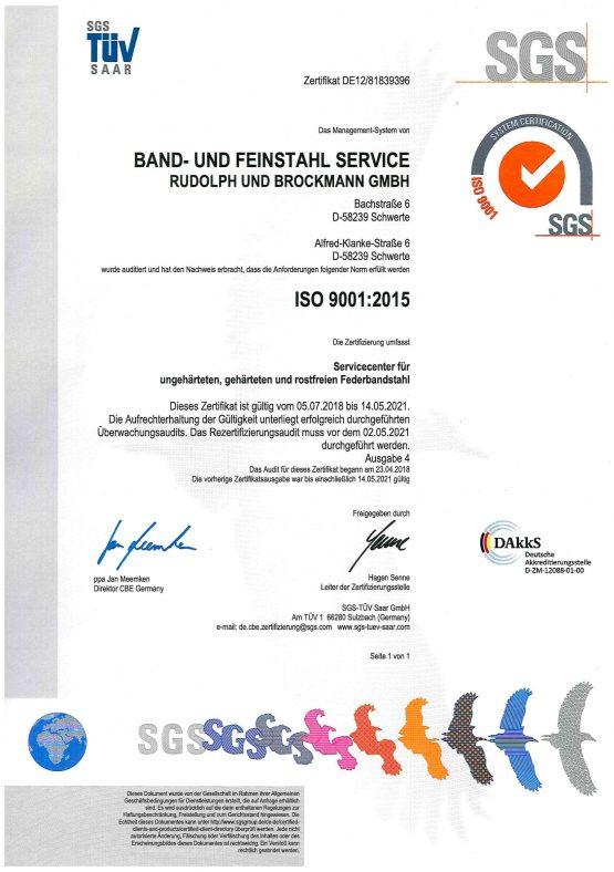ISO 9001-2015 TÜV Zertifikat